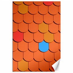 Roof Brick Colorful Red Roofing Canvas 12  X 18   by Onesevenart