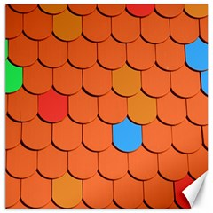 Roof Brick Colorful Red Roofing Canvas 16  X 16   by Onesevenart