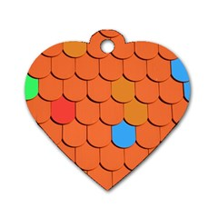 Roof Brick Colorful Red Roofing Dog Tag Heart (two Sides) by Onesevenart