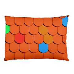 Roof Brick Colorful Red Roofing Pillow Case by Onesevenart