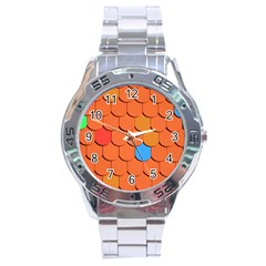 Roof Brick Colorful Red Roofing Stainless Steel Analogue Watch by Onesevenart