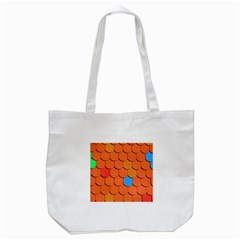 Roof Brick Colorful Red Roofing Tote Bag (white) by Onesevenart