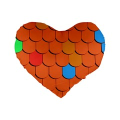 Roof Brick Colorful Red Roofing Standard 16  Premium Flano Heart Shape Cushions by Onesevenart