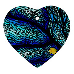 Sea Fans Diving Coral Stained Glass Ornament (heart) by Onesevenart