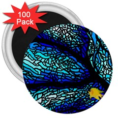 Sea Fans Diving Coral Stained Glass 3  Magnets (100 Pack) by Onesevenart
