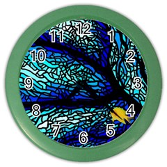 Sea Fans Diving Coral Stained Glass Color Wall Clocks by Onesevenart