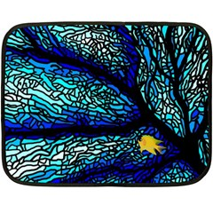 Sea Fans Diving Coral Stained Glass Double Sided Fleece Blanket (mini)  by Onesevenart