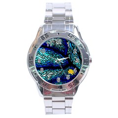 Sea Fans Diving Coral Stained Glass Stainless Steel Analogue Watch by Onesevenart