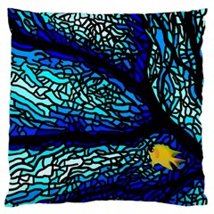 Sea Fans Diving Coral Stained Glass Large Cushion Case (two Sides) by Onesevenart