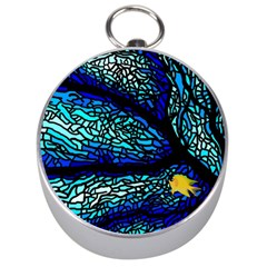Sea Fans Diving Coral Stained Glass Silver Compasses by Onesevenart