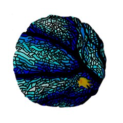 Sea Fans Diving Coral Stained Glass Standard 15  Premium Flano Round Cushions by Onesevenart