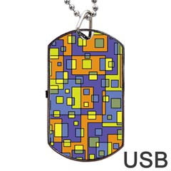 Square Background Background Texture Dog Tag Usb Flash (two Sides) by Onesevenart