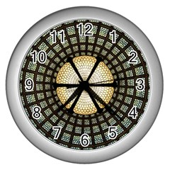Stained Glass Colorful Glass Wall Clocks (silver)  by Onesevenart