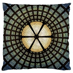 Stained Glass Colorful Glass Large Cushion Case (one Side) by Onesevenart
