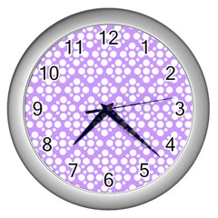 The Background Background Design Wall Clocks (silver)  by Onesevenart