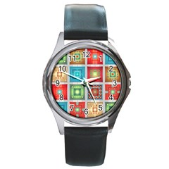 Tiles Pattern Background Colorful Round Metal Watch by Onesevenart