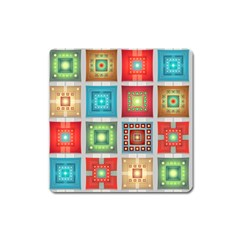 Tiles Pattern Background Colorful Square Magnet by Onesevenart