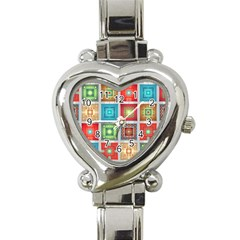 Tiles Pattern Background Colorful Heart Italian Charm Watch by Onesevenart