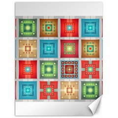 Tiles Pattern Background Colorful Canvas 12  X 16   by Onesevenart