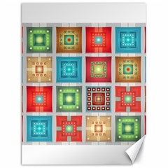 Tiles Pattern Background Colorful Canvas 18  X 24   by Onesevenart