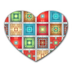 Tiles Pattern Background Colorful Heart Mousepads by Onesevenart