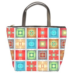 Tiles Pattern Background Colorful Bucket Bags by Onesevenart
