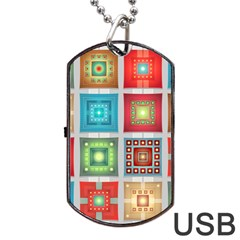 Tiles Pattern Background Colorful Dog Tag Usb Flash (one Side) by Onesevenart
