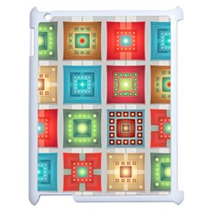 Tiles Pattern Background Colorful Apple Ipad 2 Case (white) by Onesevenart