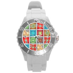 Tiles Pattern Background Colorful Round Plastic Sport Watch (l) by Onesevenart