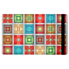 Tiles Pattern Background Colorful Apple Ipad 2 Flip Case by Onesevenart
