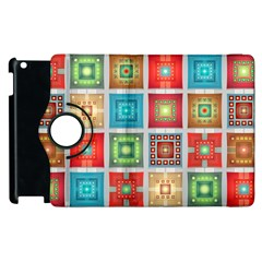 Tiles Pattern Background Colorful Apple Ipad 2 Flip 360 Case by Onesevenart