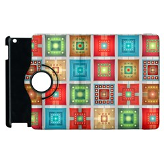 Tiles Pattern Background Colorful Apple Ipad 3/4 Flip 360 Case by Onesevenart