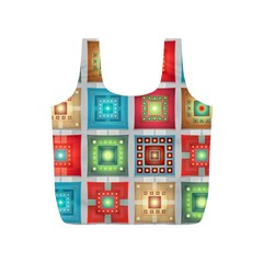 Tiles Pattern Background Colorful Full Print Recycle Bags (s)  by Onesevenart