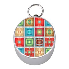 Tiles Pattern Background Colorful Mini Silver Compasses by Onesevenart