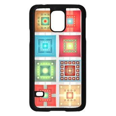 Tiles Pattern Background Colorful Samsung Galaxy S5 Case (black) by Onesevenart