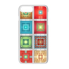 Tiles Pattern Background Colorful Apple Iphone 7 Plus White Seamless Case by Onesevenart