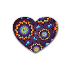 Texture Background Flower Pattern Heart Coaster (4 Pack)  by Onesevenart
