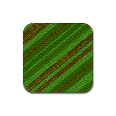 Stripes Course Texture Background Rubber Square Coaster (4 Pack)  by Onesevenart