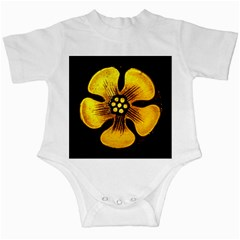 Yellow Flower Stained Glass Colorful Glass Infant Creepers by Onesevenart