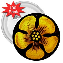 Yellow Flower Stained Glass Colorful Glass 3  Buttons (100 Pack)  by Onesevenart