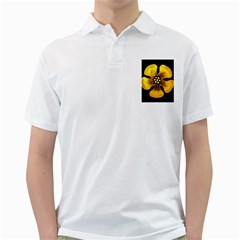 Yellow Flower Stained Glass Colorful Glass Golf Shirts by Onesevenart