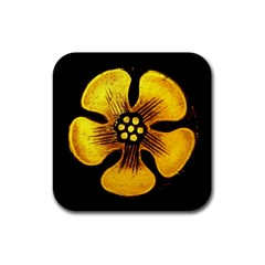 Yellow Flower Stained Glass Colorful Glass Rubber Square Coaster (4 Pack)  by Onesevenart
