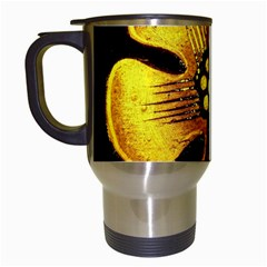 Yellow Flower Stained Glass Colorful Glass Travel Mugs (white) by Onesevenart