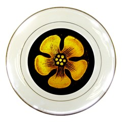 Yellow Flower Stained Glass Colorful Glass Porcelain Plates by Onesevenart