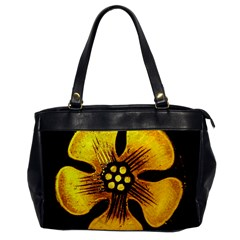 Yellow Flower Stained Glass Colorful Glass Office Handbags by Onesevenart