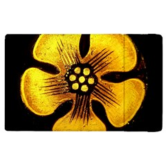 Yellow Flower Stained Glass Colorful Glass Apple Ipad 3/4 Flip Case by Onesevenart