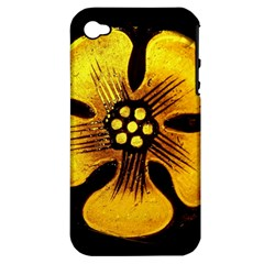 Yellow Flower Stained Glass Colorful Glass Apple Iphone 4/4s Hardshell Case (pc+silicone) by Onesevenart