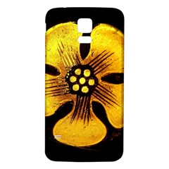 Yellow Flower Stained Glass Colorful Glass Samsung Galaxy S5 Back Case (white) by Onesevenart