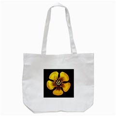 Yellow Flower Stained Glass Colorful Glass Tote Bag (white) by Onesevenart