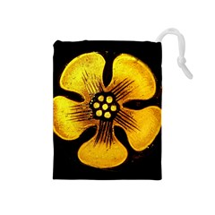 Yellow Flower Stained Glass Colorful Glass Drawstring Pouches (medium)  by Onesevenart